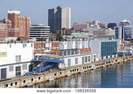 The port and the skyline of Halifax city (Nova Scotia Canada).