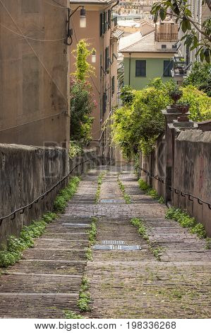 Old pathway from Belvedere Castelletto towards the historical center of the Genoa city Italy.