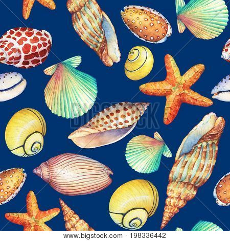 Seamless pattern with underwater life objects, isolated on dark blue background. Marine design-shell, sea star. Watercolor hand drawn painting illustration. Element for posters, greeting cards.