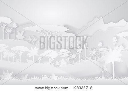 Paper Crafted Cutout World. Concept of tropical rainforest Jungle. Vector illustration.