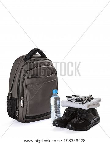 Set of sports accessories for men isolated on white background