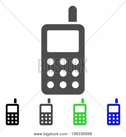 Cell Phone flat vector pictogram. Colored cell phone, gray, black, blue, green pictogram versions. Flat icon style for web design.