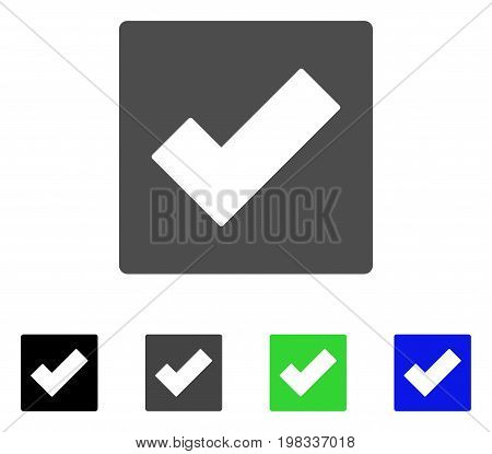 Check flat vector icon. Colored check, gray, black, blue, green icon variants. Flat icon style for graphic design.
