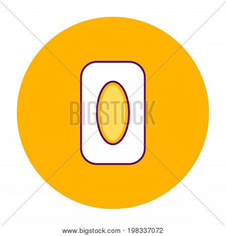 Vector Illustration Orange Round Icon, Eraser, Line Art