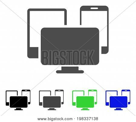 Electronic Devices flat vector illustration. Colored electronic devices, gray, black, blue, green pictogram variants. Flat icon style for graphic design.