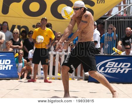 HERMOSA BEACH, CA. - AUGUST 9: Phil Dalhausser and Todd Rogers vs. John Hyden (pictured) and Sean Scott for the mens final of the AVP Hermosa Beach Open. August 9, 2009 in Hermosa Beach.