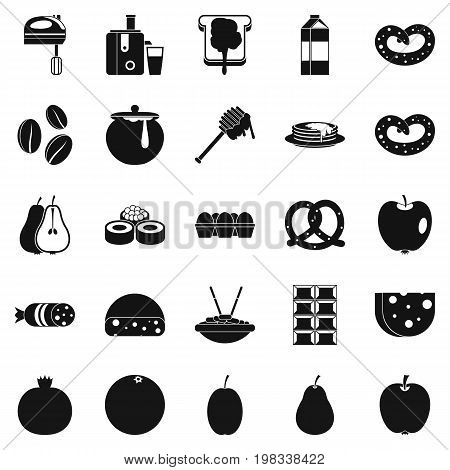 Nourishment icons set. Simple set of 25 nourishment vector icons for web isolated on white background