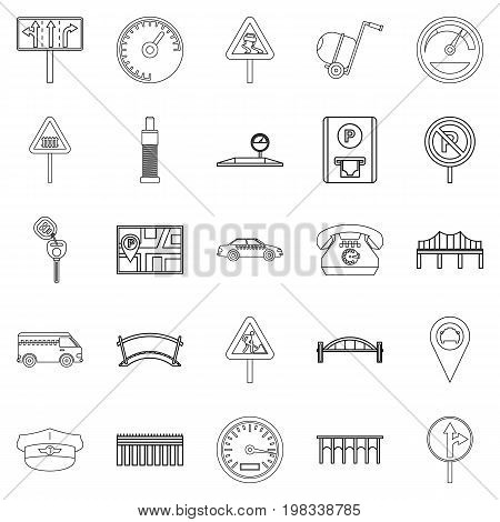 Pavement icons set. Outline set of 25 pavement vector icons for web isolated on white background