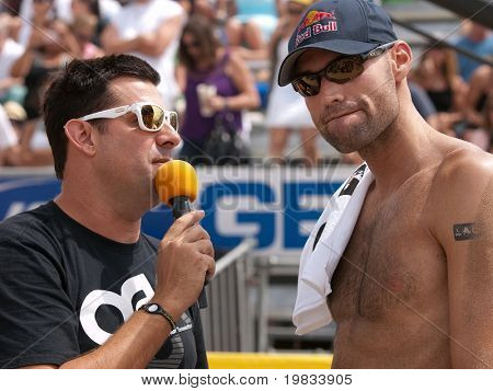 HERMOSA BEACH, CA. - AUGUST 9: Phil Dalhausser being interviewed after winning the mens final of the AVP Hermosa Beach Open. August 9, 2009 in Hermosa Beach.