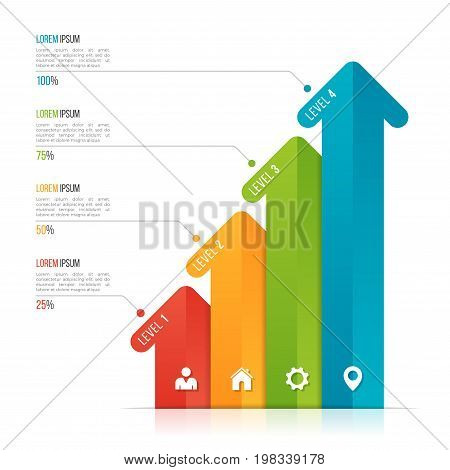 Arrow infographic template for data visualization. 4 options, levels, steps. Vector illustration