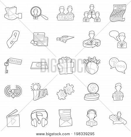 Business sphere icons set. Outline set of 25 business sphere vector icons for web isolated on white background