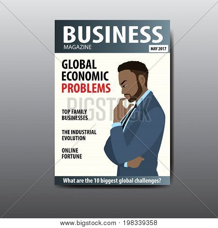 The blank magazine cover, african american businessman thinking about a problem, template, stock vector illustration