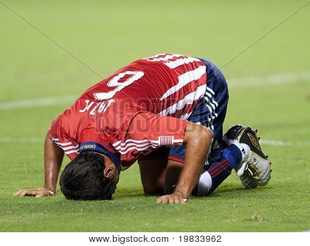 CARSON, CA. - AUGUST 22: Ante Jazic injuried during the Chivas USA vs. Toronto FC match on August 22, 2009 at the Home Depot Center in Carson.
