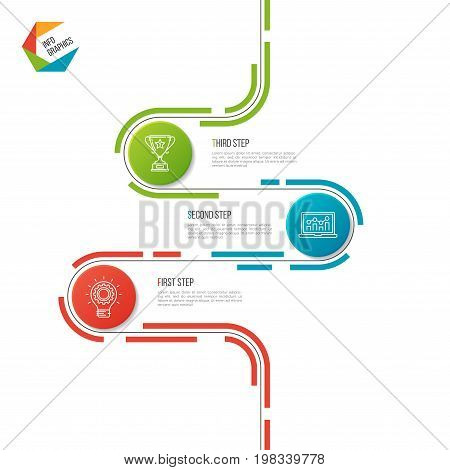 Abstract 3 steps road timeline infographic template. Vector illustration.