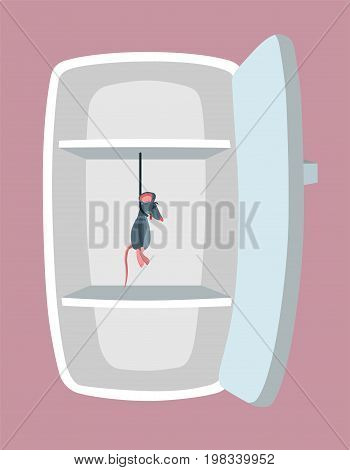 Empty fridge. Kitchen refrigerator with hanged mouse. Absolutely no food. Nothing to eat concept. Cartoon style. Vector illustration.