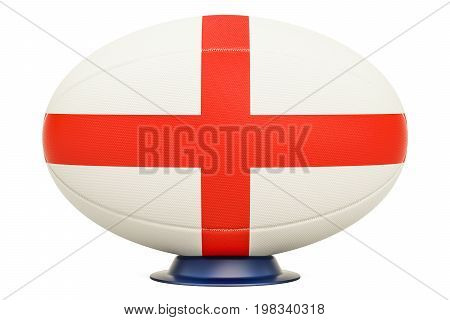 Rugby Ball with flag of England 3D rendering isolated on white background