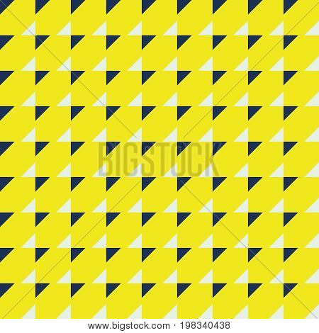 Seamless minimal pattern geo geometric background with triangles simple modern print in yellow white and dark blue seamless vector texture