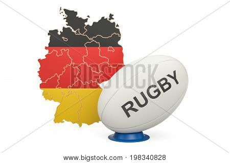 Rugby Ball with flag of Germany 3D rendering isolated on white background