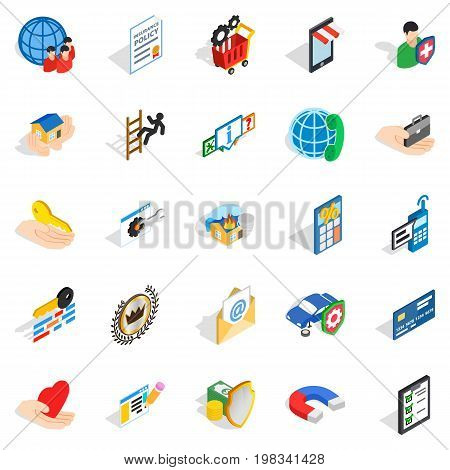 Call center icons set. Isometric set of 25 call center vector icons for web isolated on white background