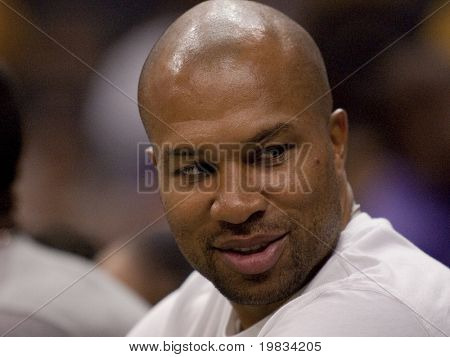 LOS ANGELES, CA. - SEPTEMBER 16: Derek Fisher of the Lakers watches the WNBA playoff game of the Sparks vs. Storm on September 16, 2009 in Los Angeles.