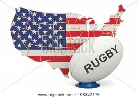 Rugby Ball with map of USA 3D rendering