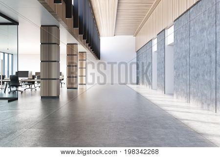 Concrete Loft Office, Wooden Columns