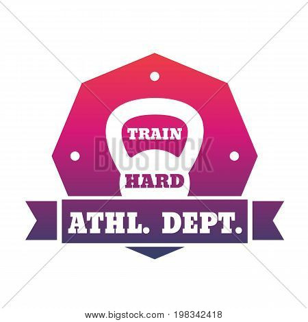 Athletic department emblem with kettlebell, eps 10 file, easy to edit
