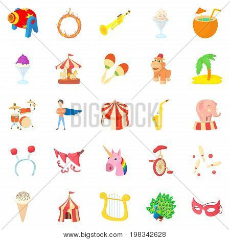 Carnival icons set. Cartoon set of 25 carnival vector icons for web isolated on white background