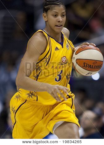 LOS ANGELES, CA. - SEPTEMBER 16: Candace Parker dribbling the ball up court during the WNBA playoff game of the Sparks vs. Storm on September 16, 2009 in Los Angeles.