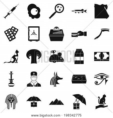Egyptian cats icons set. Simple set of 25 egyptian cats vector icons for web isolated on white background