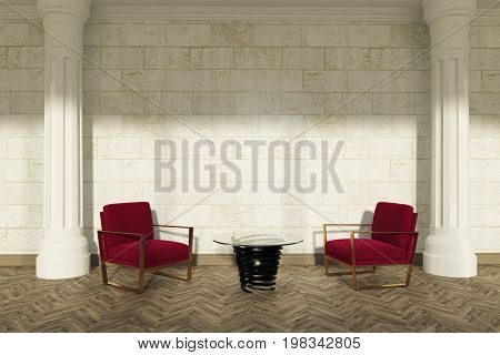 Columns Living Room, Red Armchairs