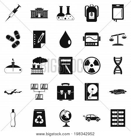Experiment icons set. Simple set of 25 experiment vector icons for web isolated on white background