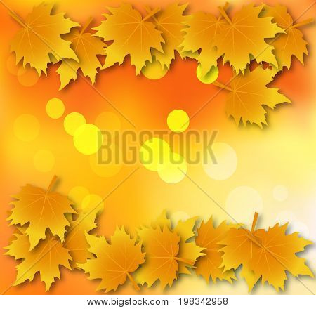 Abstract background with autumn leaves, vector art illustration.