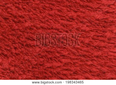 Red double sided terry towelling fabric texture background. High resolution