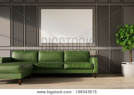 Gray Wall, Green Sofa, Poster