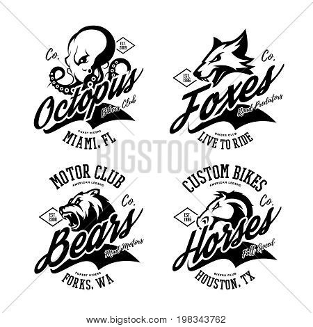 Vintage American furious octopus, fox, bear, horse bikers club tee print vector design set.  Street wear mascot t-shirt emblem. Premium quality wild animal superior logo concept illustration.