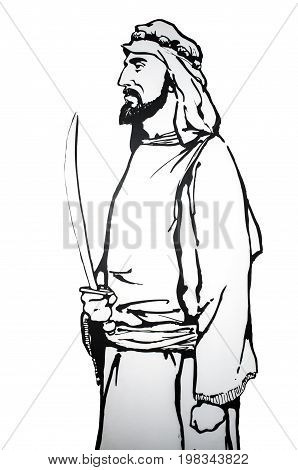 Badajoz Spain - june 20 2017: Abdallah ibn Al-Aftas was the founder of the Bani Al-Aftas dynasty of the taifa of Badajoz Prominent historic people born in Badajozat Luis de Morales Museum