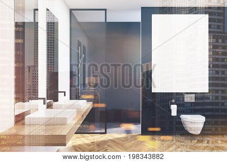 Black Lavatory, Poster, Sink, Double