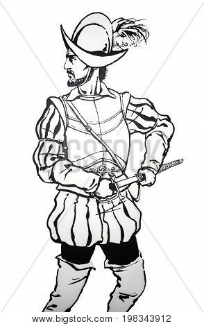 Badajoz Spain - june 20 2017: Pedro de Alvarado spanish conquistador. Prominent historic people born in Badajoz Luis de Morales Museum
