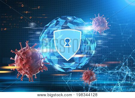 Glowing security shield hologram with a keyhole with an orb background against a blurred blue futuristic surrounding. Polygons viruses. Toned image double exposure mock up