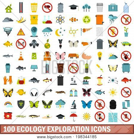 100 ecology exploration icons set in flat style for any design vector illustration