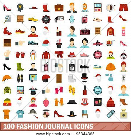 100 fashion journal icons set in flat style for any design vector illustration
