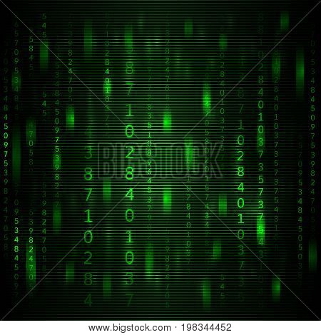 Abstract green background in the style of a matrix with falling random numbers. Vector illustration