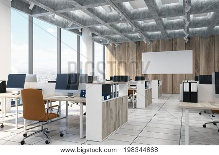 Light Wooden Open Office, Computers, Poster, Side