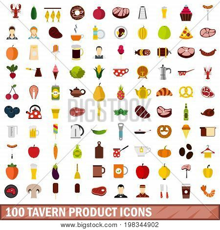 100 tavern product icons set in flat style for any design vector illustration