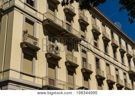 Old large frontage in very narrow street. Florence Italy Europe.