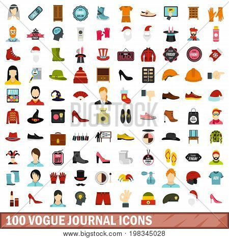 100 vogue journal icons set in flat style for any design vector illustration