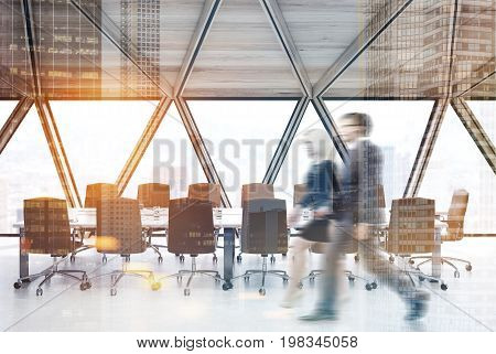 White Conference Room With Beige Chairs People