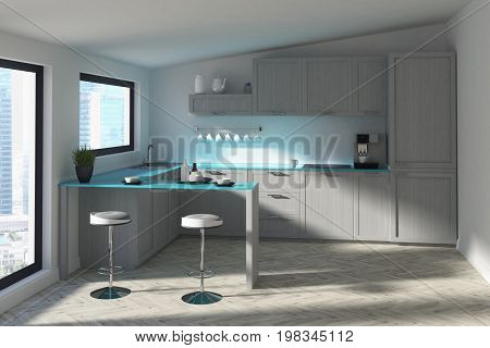 Futuristic Kitchen With A Bar, Blue