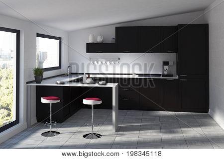Futuristic Kitchen With A Bar, Black